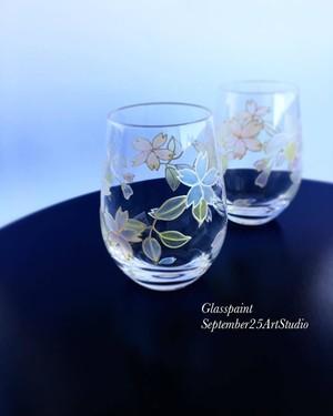 【桜】グラス(手描きガラス絵付け)/両親プレゼント・ウェディングギフト・結婚祝い