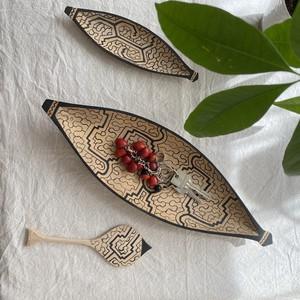 木彫りのカヌー2 全長36cm 先住民族の工芸