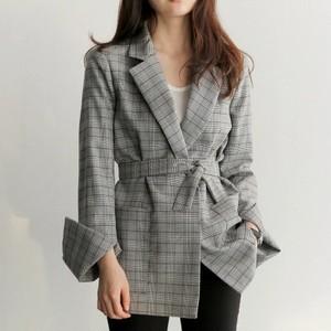 【アウター】チェック柄折り襟長袖ファッションサッシュベルトスーツ