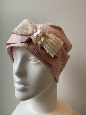 ポップコーンリボンとチュールのお花のケア帽子 ピンクボーダー