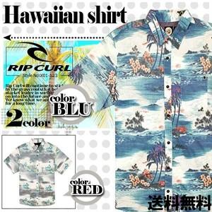 X01-123 リップカール アロハシャツ メンズ 人気 ブランド おしゃれ かりゆし 夏 海 リゾート グレー ブルー M L RIP CURL