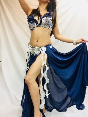 エジプト製ベリーダンス衣装 ブルー&ホワイト