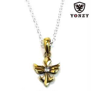 YONZY Phoenix Necklace  Brass small ホワイトトパーズ