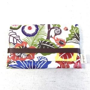 名刺 / カードケース 紅型デザイン バンナ公園の植物と昆虫たち 赤