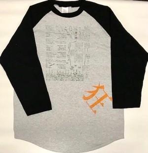 181008狂ラグランTシャツ(ナルキッソスカラー)グレー×ブラックXL