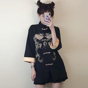【トップス】中国系レトロ春夏カジュアル刺繍プリントシングルブレスト七分袖ロングシャツ