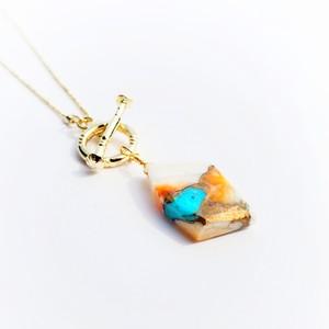 【現品】天然石seriesネックレス / オイスターカッパーターコイズa