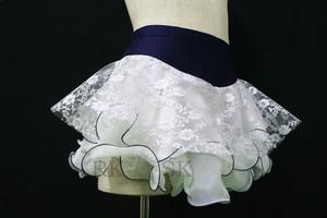 フィギュアスケート 練習用パンツ付きスカート ラメレース×ホワイト×ネイビー sk0009