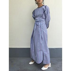 slit sleeve onepiece / blue stripe