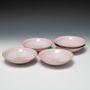 硝子釉小皿揃い ピンク