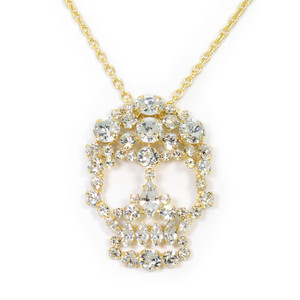 Crystal Skull/gold crystal ペンダントブローチ