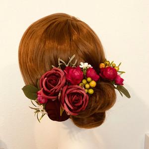 ウェディングに♡シフォンローズと薔薇のヘッドドレス