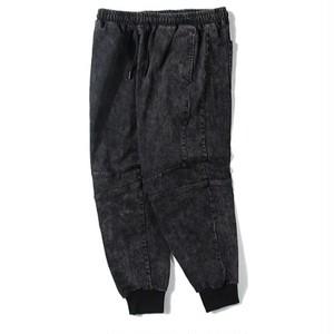 メンズ大きいサイズジョガーパンツ。ブラックデニム