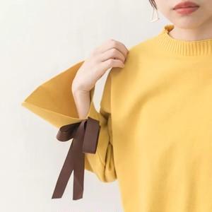 ベルスリーブラウンドネックセーター(yellow)