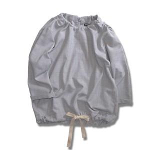 Ribbon Gather Neck Blouse -Gray Check