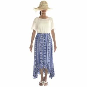 フィッシュテールロングスカート&ワンピース オルテガ柄 #blue×white