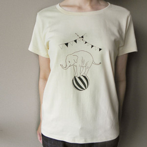 circusぞうさんTシャツ(モノクロ)