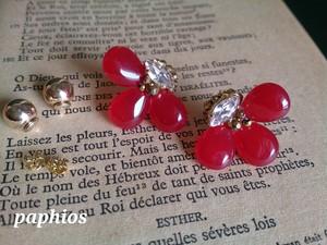 [ピアス] bijou-flower / red