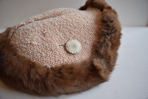 VINTAGE fur×knit headdress with hat pin