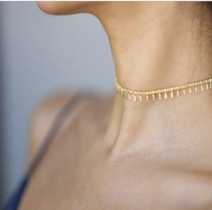 Fringe chian choker necklace (フリンジ チェーンチョーカーネックレス)