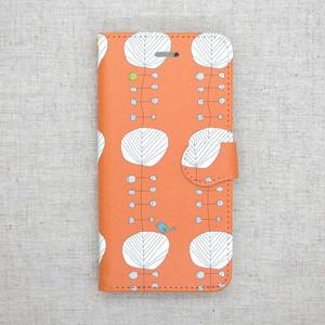 オレンジの木と鳥 北欧 手帳型スマホケース iPhone/android