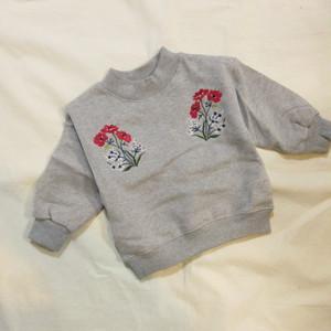 韓国子供服☆80~140㎝ フラワー刺繍トレーナー