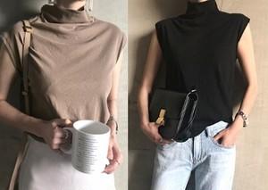 Tシャツ レディース ノースリーブ トップス カットソー ハーフネック シンプル カジュアル 綿