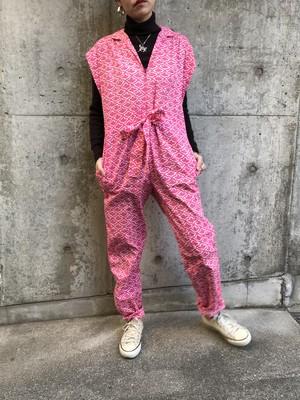 Vintage pink × white sleeveless cotton jumpsuits ( ヴィンテージ ピンク × ホワイト コットン オールインワン )
