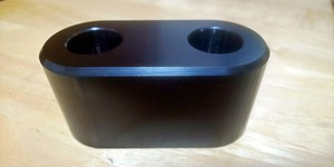 シンプル印鑑立て  2本用 アルミ製(黒アルマイト)