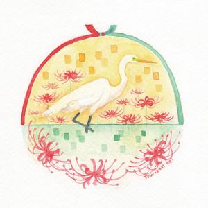 【南極ホタル堂】 原画「ダイサギ×ヒガンバナ」