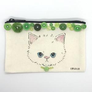 手描きポーチS(不機嫌な子猫 ヴィンテージボタン グリーン2)