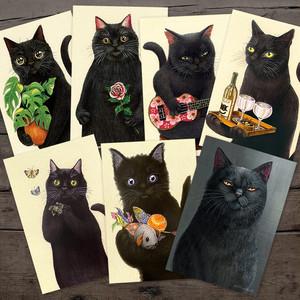 I❤︎黒猫!! ポストカード7枚セット / Set of 7 Black Cat Postcards