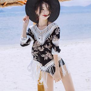 【お取り寄せ】 ポンチョ フリンジ 日焼防止 体型カバー ビーチウェア