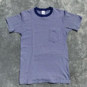 90's TOWNCRAFT タウンクラフト コットンボーダー ポケットTシャツ M ブルー  JCPenny USA製 希少 ヴィンテージ