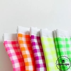«即納»«ママサイズあり » neon gingham check socks ネオン ギンガムチェック ソックス