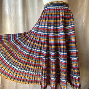 retro stripe pleated design skirt /レトロな配色のデザインプリーツスカート