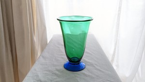 """Louise"" Green and Cobalt Vase by Erika Lagerbielke for Orrefors"