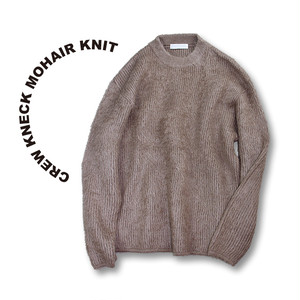 Crew kneck mohair knit [Beige]