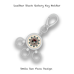 Leather Stuck Rotary Key Holder / Smile Sun Face Skull Design 001