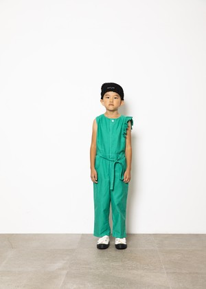 【21SS】folkmade(フォークメイド) handsome coverall green(S/M/L)オールインワン フリル