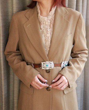 brown leather turquoise buckle belt