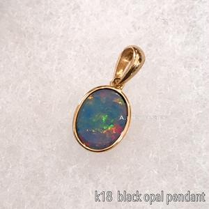 ペンダント 18金 ブラック オパール k18 天然石 ペンダント トップ  /  k18 black opal pendant