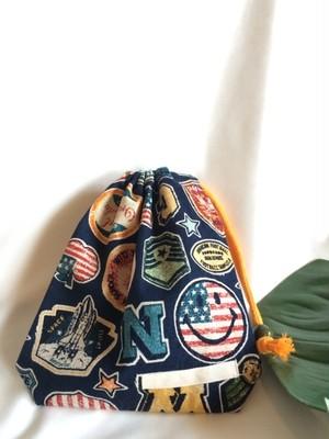 入園入学給食袋コップ入れ巾着40スマイルビンテージ