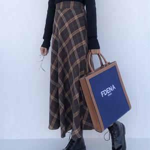 【ボトムス】ファッション感満々 ハイウエスト チェック柄 すね丈 スカート42940599