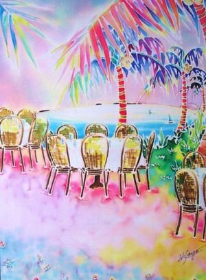 """版画 ミストグラフ Tables on the beach"""""""
