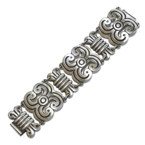 Vintage Sterling Silver Mexican Azteca Plate Link Bracelet