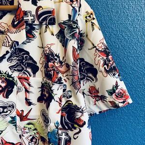 タトゥーイラスト柄コラージュアロハシャツ