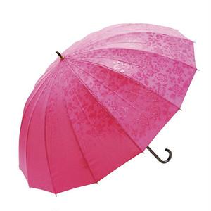 濡れると柄の浮き出る長傘 58cm バラ柄 ピンク
