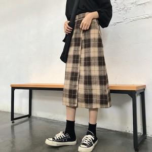 チェック柄 ミモレ丈 スカート 759
