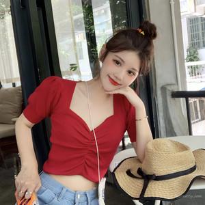 【トップス】韓国系さっぱりイメージ美ライン目立つスリム細見せ薄いニットTシャツ